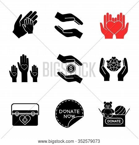 Charity Glyph Icons Set. Silhouette Symbols. Helping Hands, Donate Now Sticker, Earth Saving, Toys D