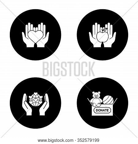 Charity Glyph Icons Set. Food And Toys Donation, International Charity, Hands Holding Heart. Vector