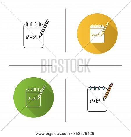 Notebook With Math Formula Icon. Rough Draft. Algebra Calculations. Flat Design, Linear And Color St