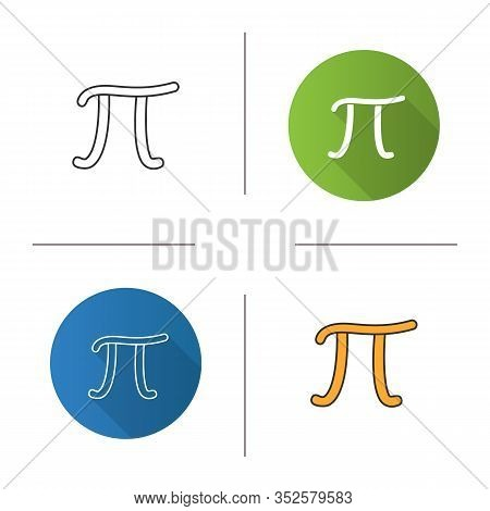 Pi Icon. Mathematical Constant. Flat Design, Linear And Color Styles. Isolated Vector Illustrations