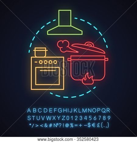 Cafe Neon Light Concept Icon. Food Preparation Idea. Kitchen. Cooking Dinner. Cooker, Exhaust Hood,