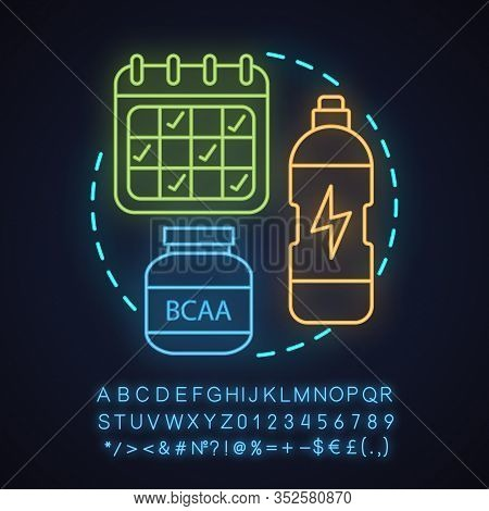 Sports Nutrition Store Neon Light Concept Icon. Professional Sport Idea. Bcaa Supplement, Schedule,