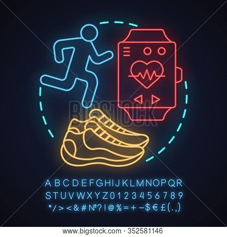 Jogging Neon Light Concept Icon. Outdoor Activities Idea. Running. Sneaker, Sprinter, Sports Bracele