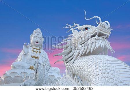 Chiang Rai, Thailand - November 14, 2019: Exterior Of Wat Huay Pla Kang, Big Buddha Temple At Sunset