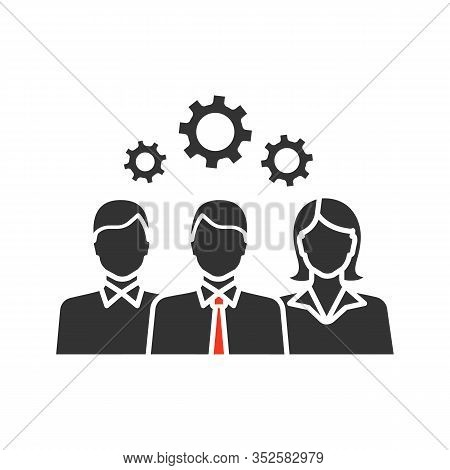 Teamwork Glyph Icon. Leadership. Staff Management. Group Of People With Cogwheels. Silhouette Symbol