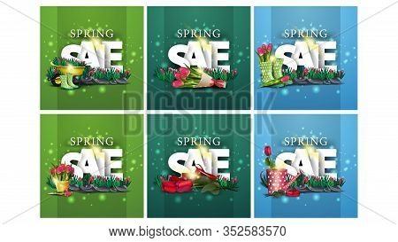 Spring Sale, Large Set Of Spring Square Discount Banners With With Large Three-dimensional Letters,