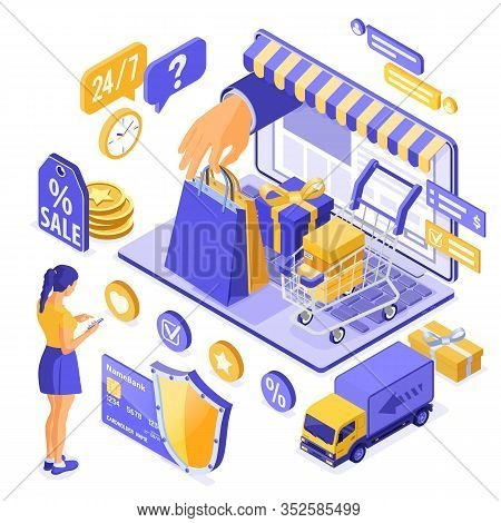 Isometric Online Shopping, Delivery, Logistics Concept. Laptop With Hand Hold Bag Online Delivery Go