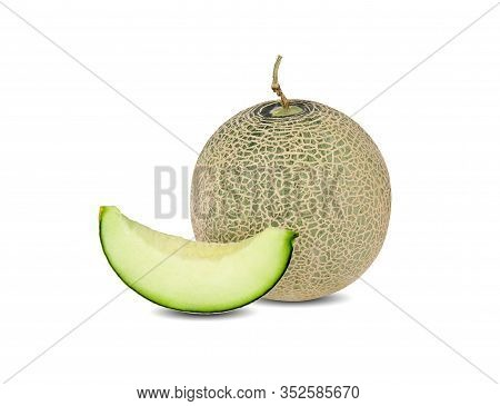 Whole And Sliced Green Melon With Stem On White Background