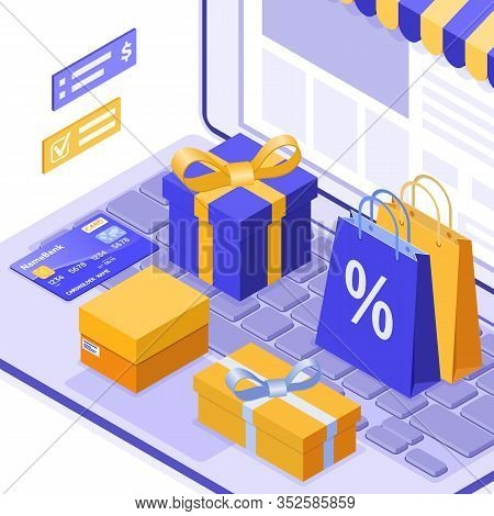 Isometric Online Shopping, Delivery, Logistics Concept. Laptop With Bag Online Delivery Goods, Gift,