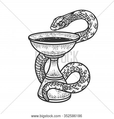 Bowl Of Hygieia Symbols Of Pharmacy Sketch Engraving Vector Illustration. T-shirt Apparel Print Desi