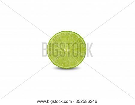 Hafl Cut Ripe Green Lime On White Background