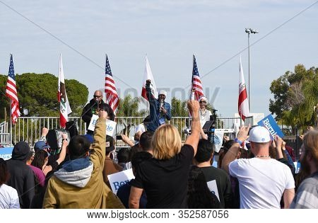 SANTA ANA, CALIFORNIA - 21 FEB 2020: Reggae singer Pato Banton warms up the crowd at a Bernie Sanders Rally at Santa Ana Valley High School.
