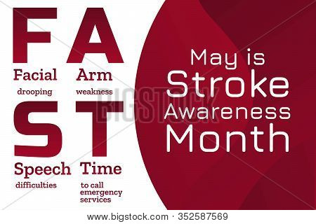 May Is National Stroke Awareness Month. Stroke Symptoms. Mnemonic Concept. Template For Background,