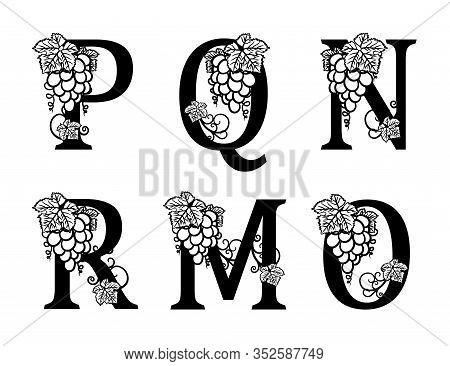 Elegant Wine Logo. Monogram Letters M, P, Q, R, O, N. Calligraphic Template Logotype Or Insignia For