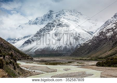 Himalayan landscape scenery in Lahaul valley in Himalayas with snowcapped mountains. Himachal Pradesh, India