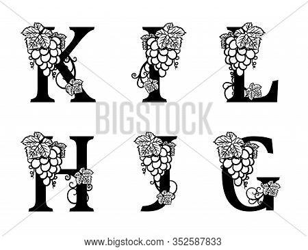 Elegant Wine Logo. Monogram Letters K, I, L, H, J, G. Calligraphic Template Logotype Or Insignia For