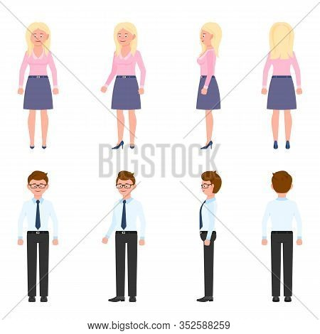 Nice, Cute, Handsome, Pretty Young Office Worker Man And Woman Vector Illustration. Standing, Smilin