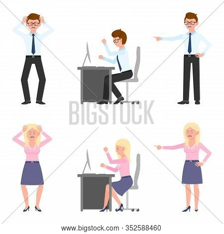 Angry, Stressed, Desperate Office Boy And Girl Vector Illustration. Shouting, Pointing Finger, Screa