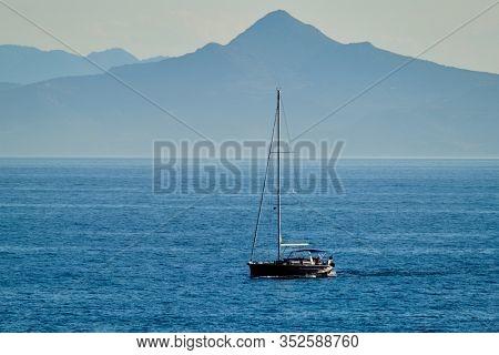 Yacht in Aegean Sea Mediterranean Sea, Greece