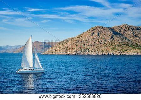 Catamarane yacht in Aegean Sea Mediterranean Sea, Greece