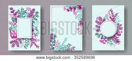 Cute Herb Twigs, Tree Branches, Flowers Floral Invitation Cards Templates. Herbal Corners Natural In