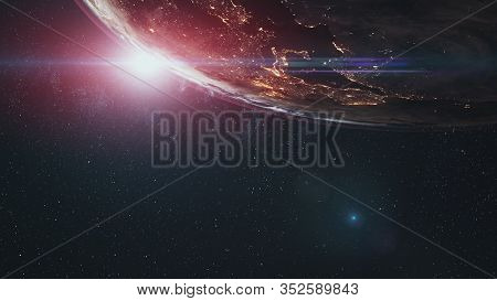 realistic Earth orbiting Sun over world skyline. Planet rotating view from outer space. Star twinkle. 3d render animation. Astronomy concept. Elements of this media furnished by NASA