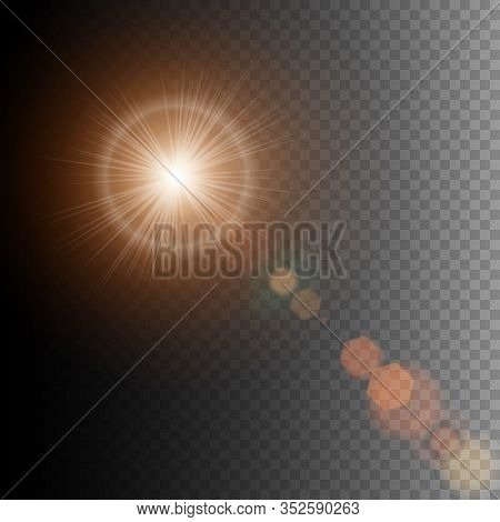 Summer Sun Lens Flare With Realistic Light And Glow On Black Background, Star Lens Flares. Vector Il