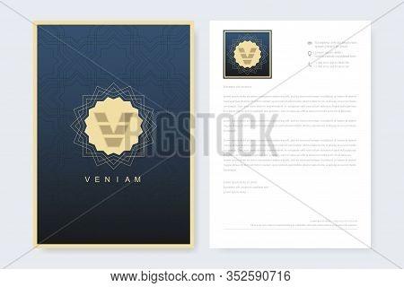 Elegant Letterhead Template Design In Minimalist Style With Logo. Golden Luxury Business Design For