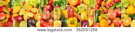 Wide background of fresh vegetables, fruits, berries, separated by vertical lines.