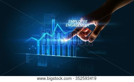 Hand touching EMPLOYEE ENGAGEMENT button, business concept