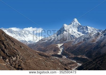 Ama Dablam Mount View From Sagarmatha National Park, Everest Region, Khumbu, Nepal