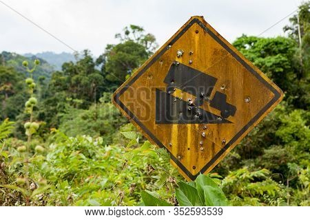 Old Yellow Rusted Steep Grade Hill Traffic Sign.