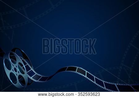 Film Reel With Film Strips Isolated On Blue Background. Cinema Background With Place For Your Text.