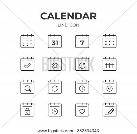 Simple Set Of Calendar Date Line Icons. Contain Such Icons As Agenda, Planning, Personal Organizer A