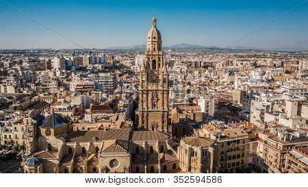 Aerial View Of Murcia Cathedral On A Sunny Day