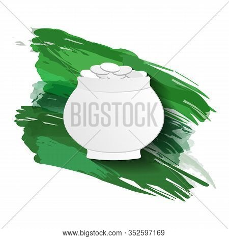 Silhouette Of A Pot Of Coins Against A Background Of Green Brushstrokes