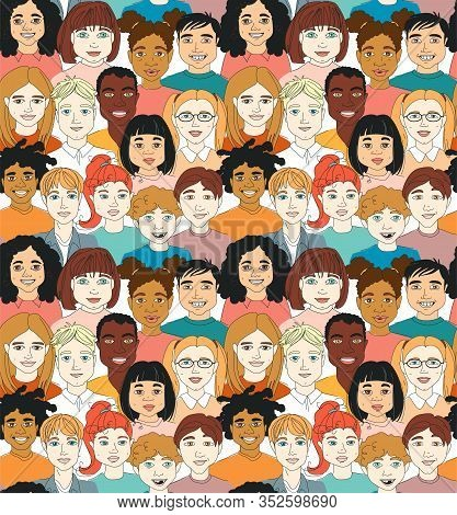 Kids Diversity Head Portraits Line Drawing Doodle Poster Seamless Pattern