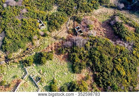 Aerial View Of Abandoned Town At Drumboghill Between Rossbeg And Portnoo In County Donegal - Ireland