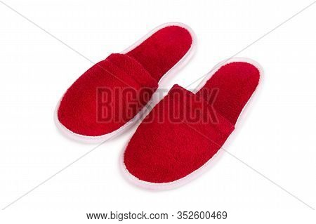 Red Slippers Close Up. A Pair Of Home Sneakers In Red. Slippers Isolate On A White Background.