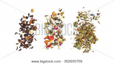 Top View Of An Assortment Of Loose Tea Leaves Isolated On White