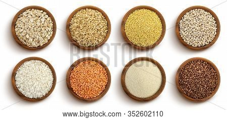 Cereals, Grains And Seeds In Bowls Isolated On White Background, Top View