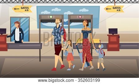 Concept Of Family Travel Together. Parents With Children Passed Airport Security Check And Security