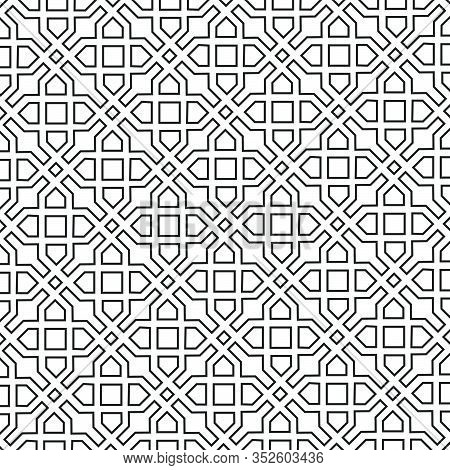 Arabic Ornament With Geometric Shapes. Abstract Motives Of The Paintings Of Ancient Indian Fabric Pa