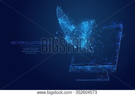 Butterfly Flies Out From Pc Monitor Screen. Free Internet Or Freelance Work Digital Concept. Freedom