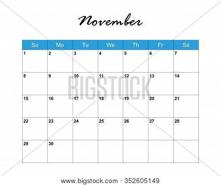 November. Calendar Planner 2020, Week Starts On Sunday. Part Of Sets Of 12 Months. Wall Desk Calenda