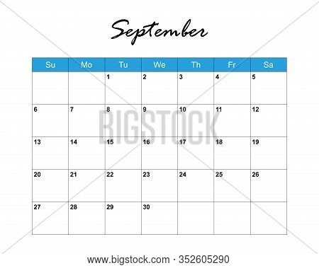 September. Calendar Planner 2020, Week Starts On Sunday. Part Of Sets Of 12 Months. Wall Desk Calend