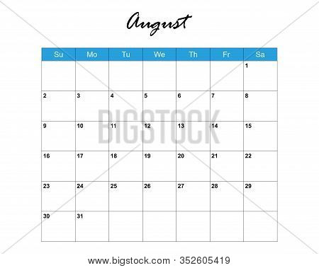 August. Calendar Planner 2020, Week Starts On Sunday. Part Of Sets Of 12 Months. Wall Desk Calendar