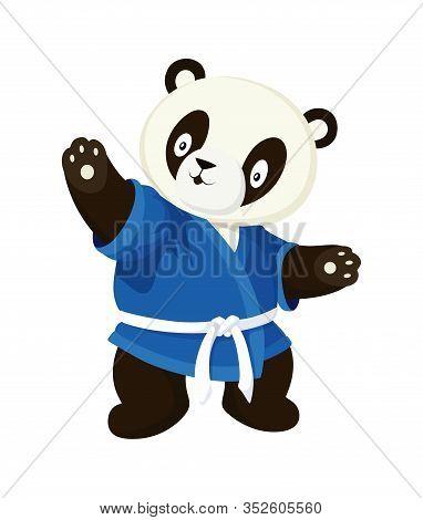 Karate Panda In Blue Kimono. Cartoon Style Isolated Image On White Background
