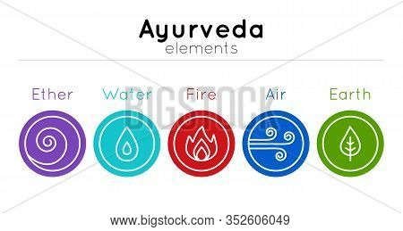 Vector Set Of Isolated Ayurveda Symbols: Water, Fire, Air, Earth, Ether In Bright Colors On A White