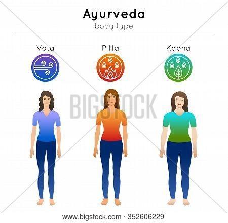 Ayurveda Vector Illustration With Doshas Symbols And Women Ayurvedic Body Types: Vata, Pitta, Kapha.